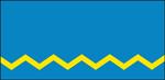 Описание флага городского поселка Лиозно: флаг представляет собой голубое полотнище прямоугольной формы с соотношением сторон 1:2. В нижней части полотнища расположен ломаный пояс желтого цвета.