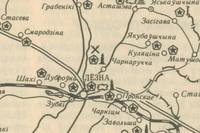 Карта Лиозненщины с местами размещения древних могильников, памятников и монументов второй мировой войны