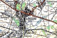 Подробная карта Лиозненского района 1985 реки, озера, горные вершины